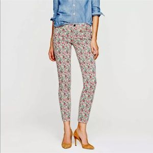 J Crew Floral Jeans Size 28 Ankle Toothpick